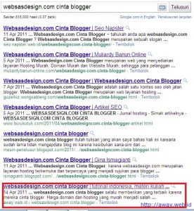 posisi sementara kontes seo websasdesign.com cinta blogger 28 april 2011